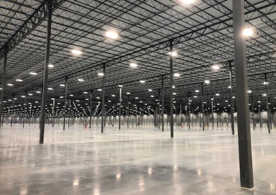 <b>Interior of Amazon fulfillment center building.</b>