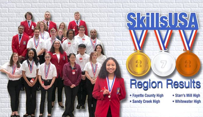 Hannah Ramirez of Starr's Mill High displays her silver medal she won at the SkillsUSA Region 5 Competition. She is one of nine students advancing to the state competition in March. Also in graphic: Sandy Creek High SkillsUSA winners show off their medals. Graphic/Fayette County School System.