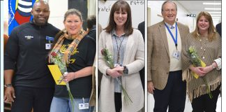 In composite photo above are (L-R) Bennett's Mill Middle School principal Dr. Marcus Broadhead and Bennett's Mill Middle School drama teacher Laurie Givden-Kufchak; (center) Flat Rock Middle School ESOL teacher Christina Rufenchact; and Superintendent Dr. Joseph Barrow with Fayette County High math teacher Jennifer D'Amato. Photos/Fayette County School System.