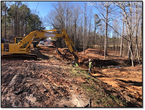 The work along Dogwood Trail continues to have through-traffic detoured. Work is expected to be completed and the road opened by early summer. Photo/Fayette County.