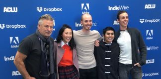 "Filmed in and around Peachtree City, where Danny and Will Madden grew up, the film ""Beast Beast"" is now showing at the Sundance Film Festival. Pictured, from left are executive producer Alec Baldwin, Shirley Chen (Krista), Will Madden (Adam), Jose Angeles (Nito) and screenwriter and director Danny Madden. Photo/Submitted."