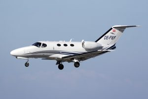 <b>Shutterstock photo of a typical small Cessna Citation jet aircraft.</b>