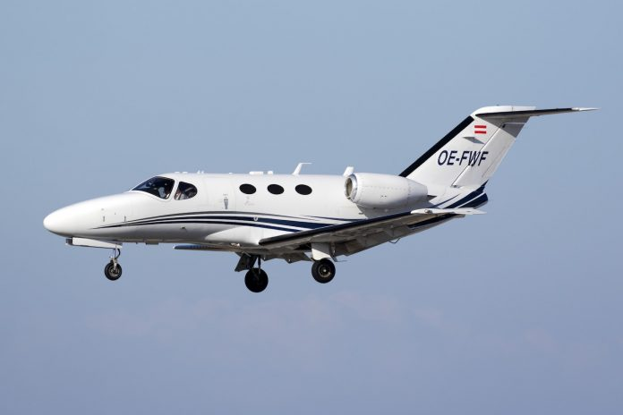 Shutterstock photo of a typical small Cessna Citation jet aircraft.