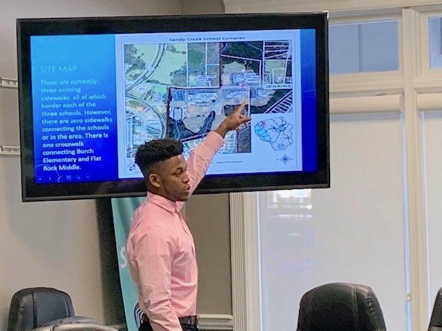 AJ Campbell presents a Path Needs Assessment for the Jenkins Road Complex to the county's Public Works Division. Photo/Fayette County School System.