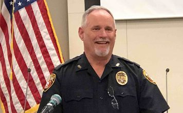 Peachtree City Assistant Police Chief Stan Pye at the Feb. 20 City Council meeting. Photo/Cal Beverly.