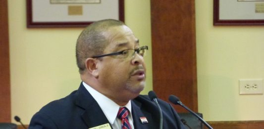 Fayetteville Mayor Ed Johnson delivers his 2020 State of the City address to City Council. Photo/Ben Nelms.