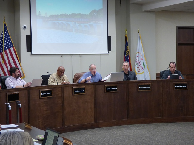 Members of the Peachtree City Planning Commission at the March 9 meeting included, from left, commissioners Kenneth Hamner and Michael Link, Chairman Frank Destadio and commissioners Paul Gresham and Scott Ritenour. Photo/Ben Nelms.