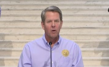 Georgia Gov. Brian Kemp speaks from the state Capitol April 8. Photo/from the GPB livestream.