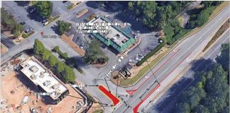 A DOT graphic shows the proposed R-cut turn at the intersection of Dan Lakly Drive and Ga. Highway 54. The photo shows McDonald's at top center and the remodeled Chick-filA at left before its parking lot was paved. Graphic/DOT via City of Peachtree City.