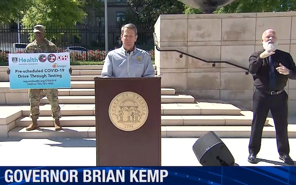Gov. Brian Kemp announces Phase 1 steps to reopen state businesses.