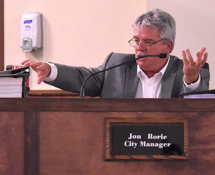 City Manager Jon Rorie makes a budget point to the Peachtree City Council June 25. photo/Cal Beverly.