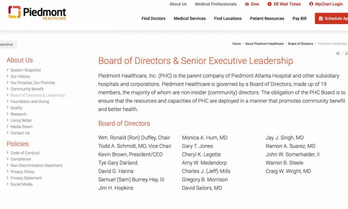 The Piedmont Healthcare board of directors from company website