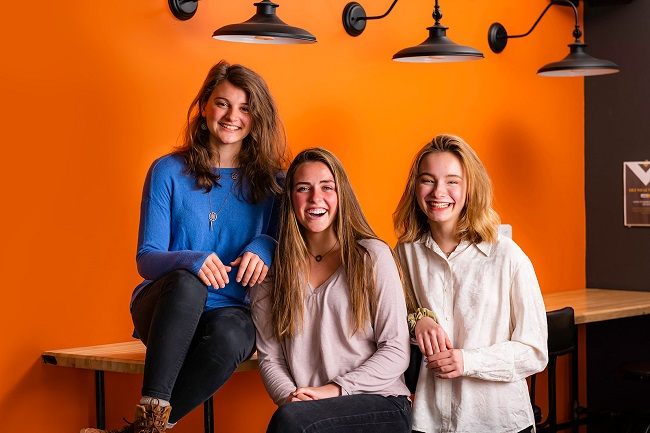 Three students at The Foundry High School in Peachtree City recently placed at the top of a national entrepreneurship competition. They are, from left, Caroline Hukin, Faith Ingram and Mya Mackiewicz. Photo/Submitted.