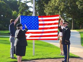 Nearly 100 people turned out July 10 to see Tyrone resident Connor Dial sworn-in as a 2nd Lieutenant by Lt. Col. Sharon Collins (Ret.) in an unofficial ceremony in Shamrock Park. Photo/Ben Nelms.