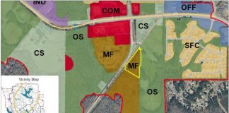 Map of site of requested rezoning on Rockaway Road. Graphic/Peachtree City Planning Commission.