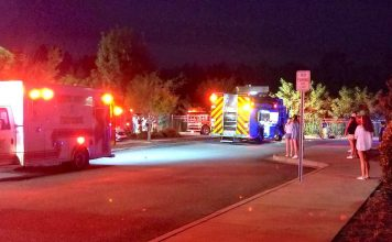 Emergency vehicles are watched by spectators in front of the NCG Theater just west of Peachtree City. The car went through a fence into a stormwater retention pond. Photo/Deb Drake.