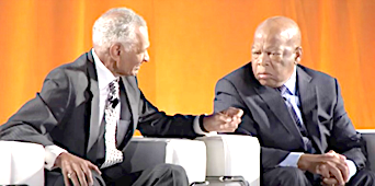 <b>The Rev. C.T. Vivian (L) and Rep. John Lewis. Photo/John E. Jones.</b>
