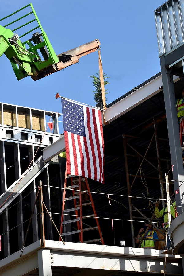 A topping-out ceremony was held last week at the new 2-story Fayetteville City Hall near downtown Fayetteville. Photo/City of Fayetteville.