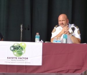 <b>Fayette County Sheriff Barry Babb at the Fayetteville Town Hall forum on policing and race. Photo/Ben Nelms.</b>