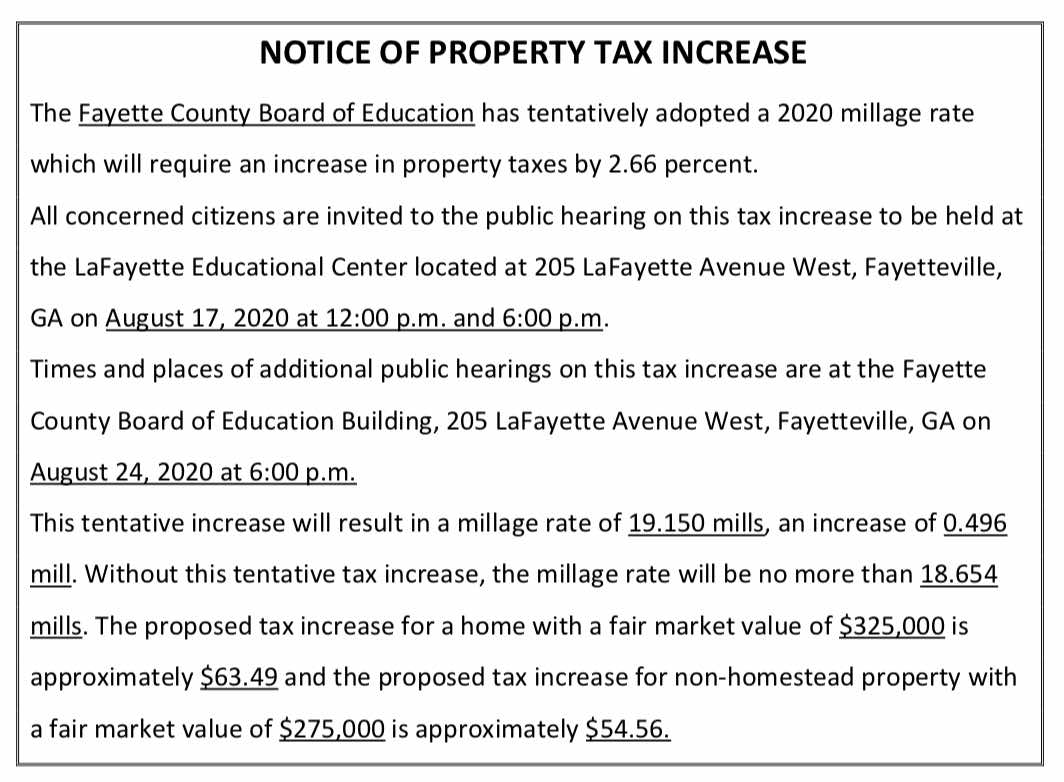 <b>Notice from the Fayette Board of Education of the coming tax increase.</b>