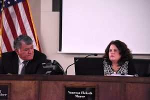 Peachtree City Finance Director Paul Salvatore goes over the budget figures for the City Council. Photo/Cal Beverly.