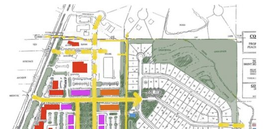 Rezoning plan for 78-acre tract on Peachtree City's east side. Graphic/Peachtree City.