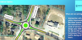 One of two options proposed to improve the current 4-way stop at Tyrone Road and Flat Creek Trail in central Fayette County. Graphic/Fayette County Commission.
