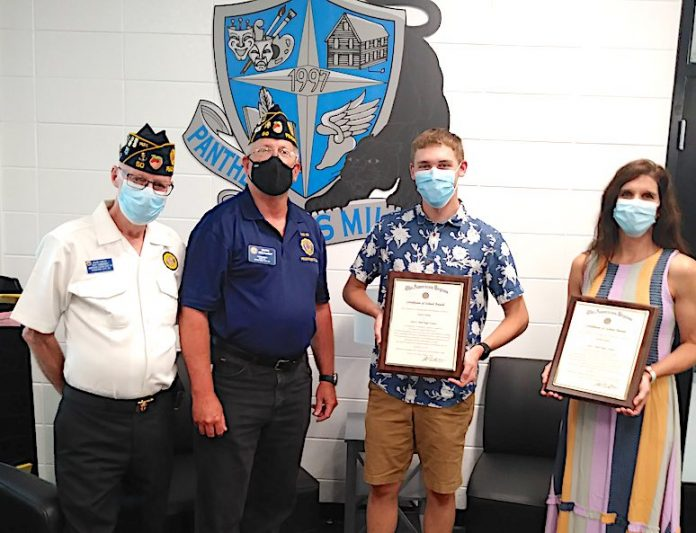 Left to right, Past Post Commander, Wayne Fowler, American Legion Post 50 Commander Mark Gelhardt, Student Zach Livsey, and then Mrs Goins (accepting for her daughter student Sarah Goins) on the right. Photo/Submitted.