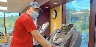 Kurt Zeiger exercises on a medical treadmill. Photo/Piedmont Fayette Hospital.