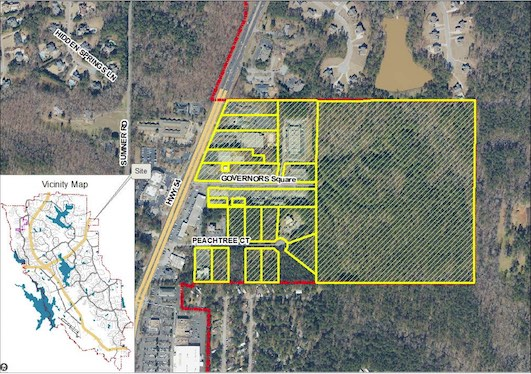 Aerial view of the proposed LUC rezoning area on Peachtree City's east side. Graphic/City of Peachtree City.