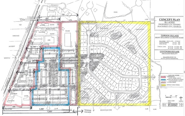 <b>Concept plan for development of the proposed LUC rezoning on Peachtree City's east side. Graphic/City of Peachtree City.</b>