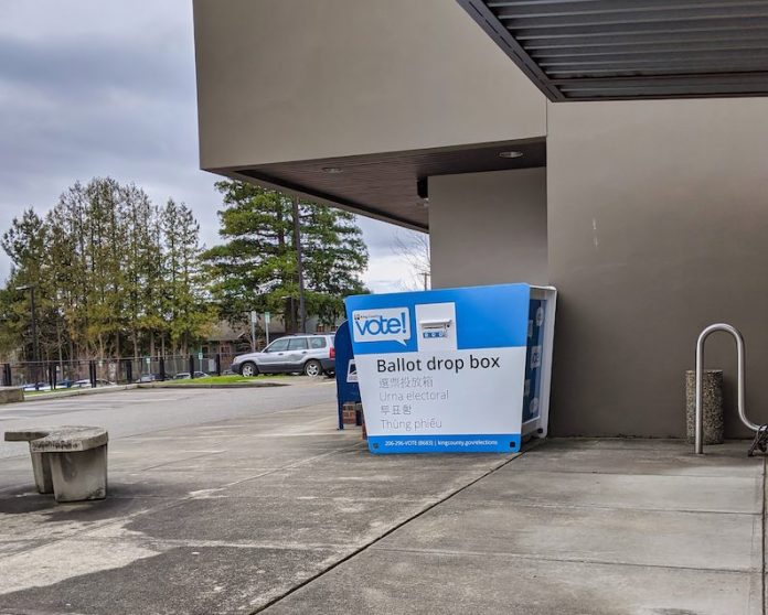 Street view of a voting ballot drop-off box at City Hall in downtown Kirkland, Wash., in February 2020. A photo of the type of box to be used by Georgia was not available. Photo/Colleen Michaels/Shutterstock.com.