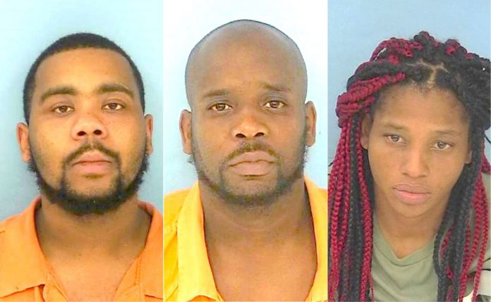 Arrested in connection with the robbery of the Victoria's Secret store in Peachtree City were (L-R) Timmy Chambers, Eugene Martin and Ashley Anderson. Photos/Fayette County Jail.