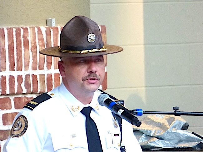 <b>Fayette County Sheriff Barry Babb speaks about the sacrifices of first responders on 9/11. Photo/Ben Nelms.</b>