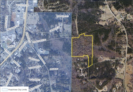 Aerial view shows proposed annexation area. Graphic from Peachtree City Council.
