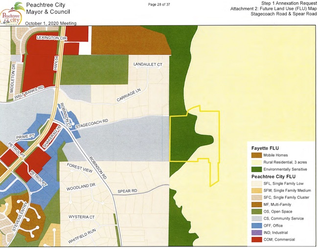 <b>Peachtree City land use map shows site of proposed annexation. Graphic from Peachtree City Council.</b>