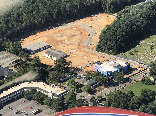 <b>An overhead view of the emerging Fayetteville City Hall and City Center Park fronting Stonewall Avenue shows a work in progress and the scope of the development. Photo/Vicki Turner.</b>