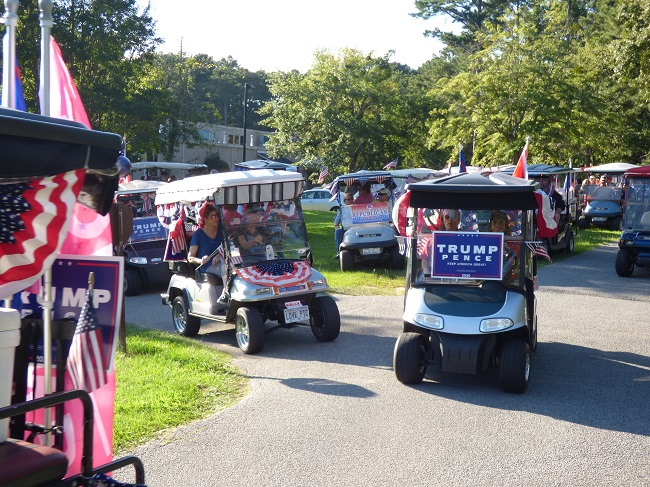 Nearly 50 golf carts filled with enthusiastic Donald Trump supporters held the Trumptilla Golf Cart Parade on Sept. 5, prior to Peachtree City's annual fireworks display, which had been postponed from July 4. Photo/Ben Nelms.