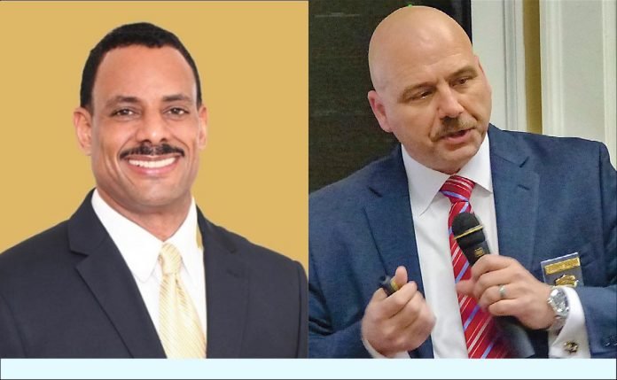 (L) Chris Pigors, Democrat candidate for sheriff, and (R) incumbent Sheriff Barry Babb, Republican.