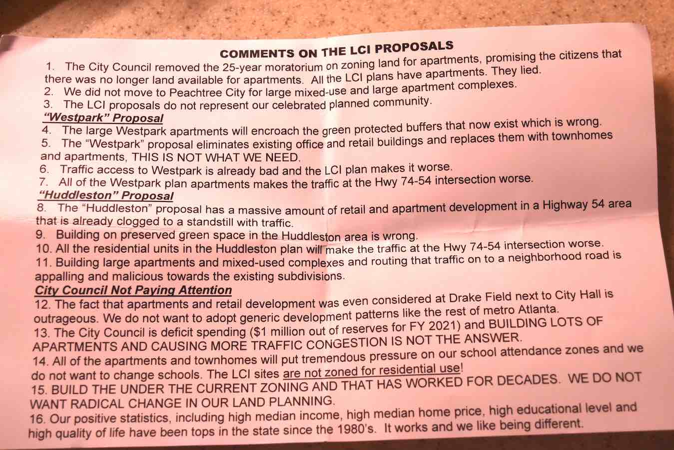 <b>Opposition handout criticizing City Council for the LCI planning results.</b>
