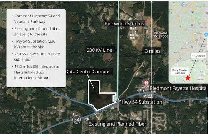 The Fayette County Development Authority on its website lists the features of the site.