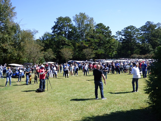A crowd of at least 200 on Oct. 3 at Drake Field in Peachtree City attended the Blue in the Bubble golf cart rally supporting the Biden-Harris ticket and other Democratic candidates. Photo/Ben Nelms.