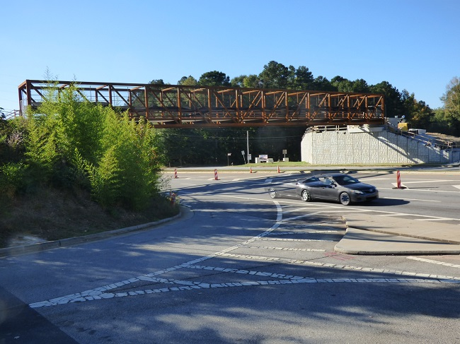 The new gateway bridge on Ga. Highway 54 West in Peachtree City was in place Saturday afternoon. Multi-use paths will be added on both sides of the highway. Photo/Ben Nelms.