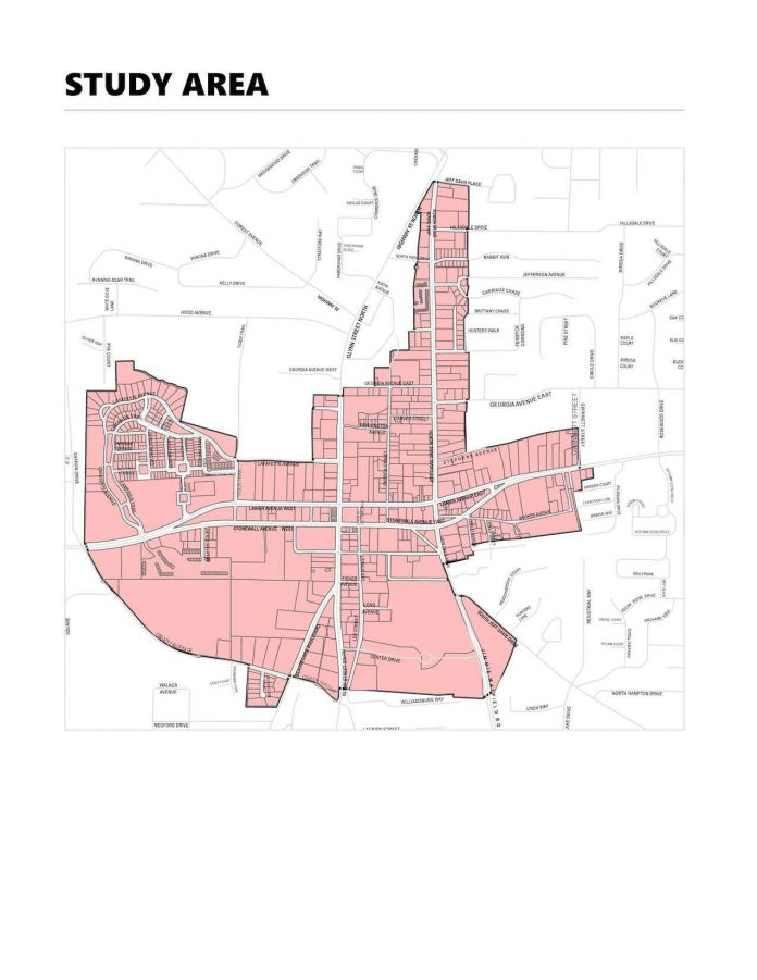 The LCI (Livable Centers Initiative) study area for Fayetteville includes downtown and areas bordering it to the north, south, east and west. Graphic/ City of Fayetteville.
