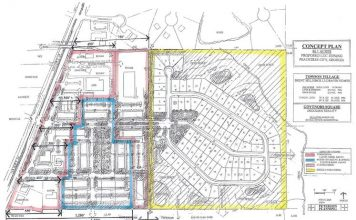 Site plan for Towson Village. Graphic/Peachtree City Planning Commission.