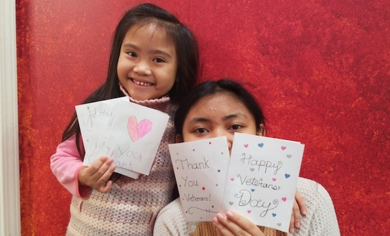 North Fayette's virtual students show off their Veterans Day appreciation cards. Photo/Fayette County School System.
