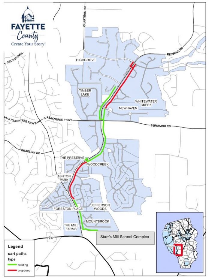 Map of Redwine Road cart path extension. Graphic/Fayette County Commission.