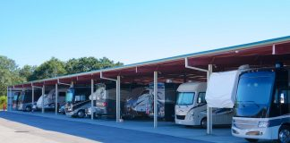 Shutterstock image of typical RV storage shed.