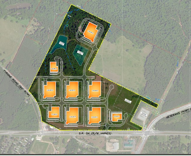 The conceptual site plan, including a potential building layout, for the 1 million sq. ft. Southeast Data Center project at Ga. Highway 54 and Veterans Parkway in Fayetteville was approved Dec. 15 by the Fayetteville Planning and Zoning Commission. Graphic/Oceanic Data Centers.