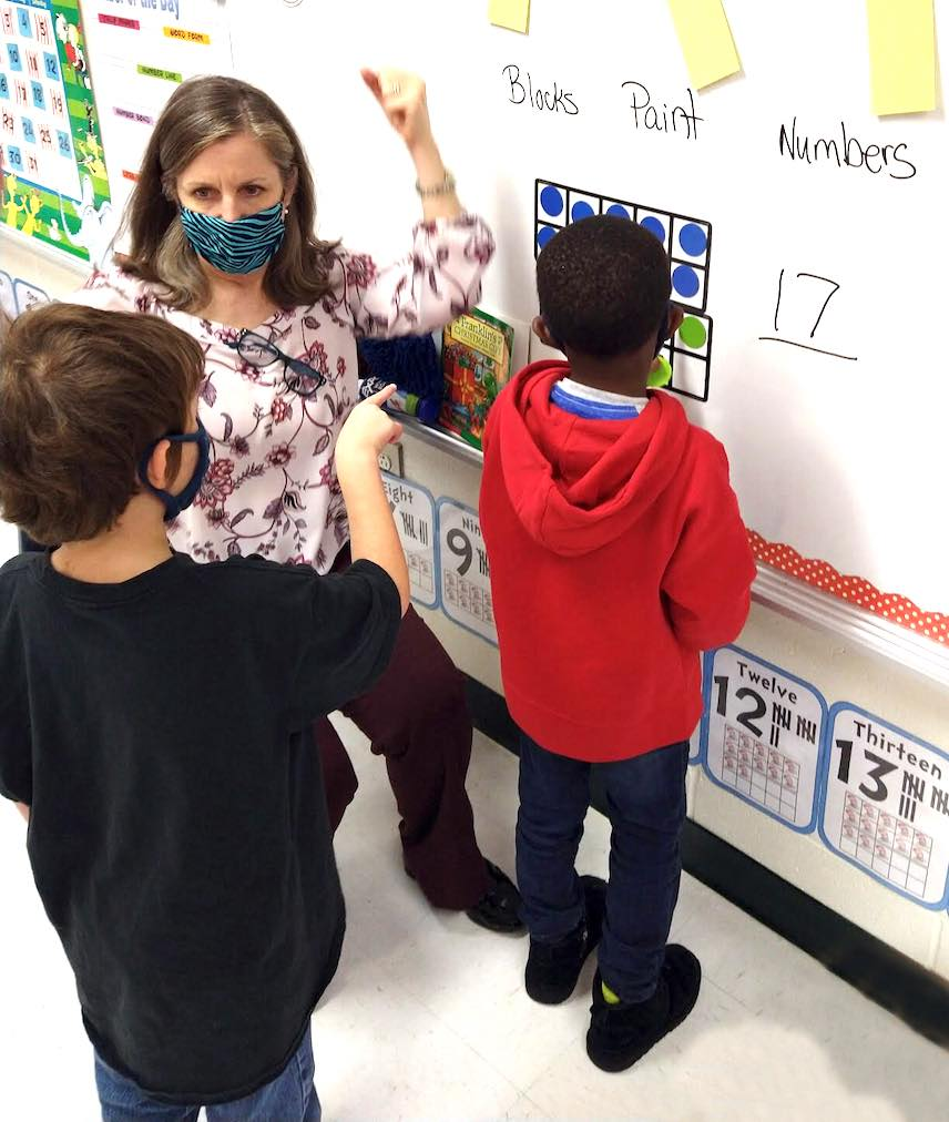 <b>Dr. Julie Turner, assistant superintendent of student achievement, teaches a math lesson while substituting in Janel Shuler's kindergarten class at Inman Elementary School. Photo/Fayette County School System.</b>